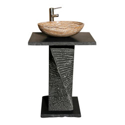 The Allstone Group - VSP-4-BE Black Lava Honed Lav Pedestal - Natural stone strikes a balance between beauty and function. Each design is hand-hewn from 100% natural stone.  Limited in space but still want to wow your guests?  Perfect for half-baths and powder rooms. Pedestal comprised of base, column and vanity top. Vessel sold separately.