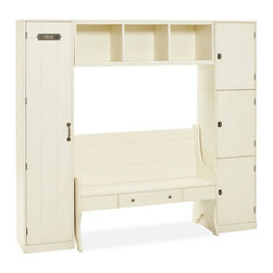 Modular Family Locker Entryway System With Bench - Organize the mudroom (or entryway) with this locker and bench addition. Functional and beautiful, it will help create a sense of calm in your house.