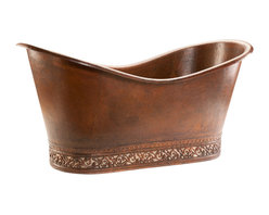 Premier Copper Products - Double Slipper Bathtub With Scroll Base - Slip into something a little more comfortable after a long day — a gorgeous, hammered copper, double slipper tub! Sliding into the warm water with a good book or a glass of wine (or both) will become the easiest form of meditation you have ever tried. Don't be surprised if your yoga mat begins to get ignored.