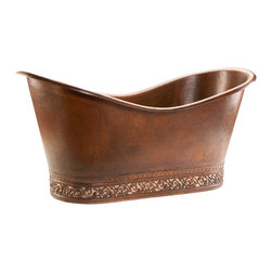 "Premier Copper Products - 67"" Double Slipper Bathtub w/ Scroll Base - Slip into something a little more comfortable after a long day — a gorgeous, hammered copper, double slipper tub! Sliding into the warm water with a good book or a glass of wine (or both) will become the easiest form of meditation you have ever tried. Don't be surprised if your yoga mat begins to get ignored."