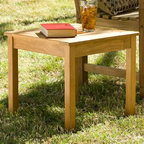 Southern Enterprises - Holly & Martin Warren End Table in Light Brow - Slatted top. Sturdy legs. Made from 100% teakwood. Natural teak wood finish. Made in Indonesia. Assembly required. Weight capacity: 20 lbs.. 17.75 in. W x 17.75 in. D x 16 in. H (16 lbs.)This end table has a functional, yet elegantly simple design that is sure to please. This square end table is sure to complete your outdoor space or even sunroom.