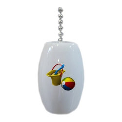 Carolina Hardware and Decor, LLC - Beach Ball Sand Bucket Ceramic Fan Pull - 2 inch ceramic fan, light, or lamp pull with six inch chain included. Item(s) can be wiped clean with a soft damp cloth.  Great addition and nice finishing touch to any room.