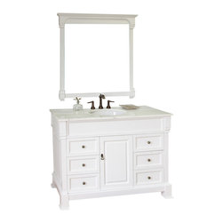 Bellaterra Home - 50 Inch Single Sink Vanity-Wood-White - This single vanity will be the keystone of your bath or powder room. The strong classic design commands attention and  speaks volumes about your elegant taste. Constructed of environmentally friendly, zero emissions solid oak wood, engineered to prevent warping and last a lifetime. Top with white marble top, variations in the shading and grain of our natural stone products enhance the individuality of your vanity and ensure that it will be truly unique. Dimension: 50 x 22.5 x 35.5
