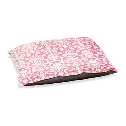 "DiaNoche Designs - Dog Pet Bed Fleece - Damask Watermelon - DiaNoche Designs works with artists from around the world to bring unique, designer products to decorate all aspects of your home.  Our artistic Pet Beds will be the talk of every guest to visit your home!  BARK! BARK! BARK!  MEOW...  Meow...  Reallly means, ""Hey everybody!  Look at my cool bed!""  Our Pet Beds are topped with a snuggly fuzzy coral fleece and a durable underside material.  Machine Wash upon arrival for maximum softness.  MADE IN THE USA."