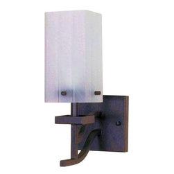 "Nuvo Lighting - Nuvo Lighting 60/004 Single Light Up Lighting 4.75"" Wide Bathroom Fixture - *Single light up lighting bathroom fixture featuring a square alabaster swirl glass shade"