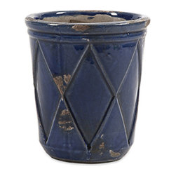 iMax - Aurora Small Planter - Our simple drum shaped Aurora planter with embossed diamond pattern and indigo glaze makes a splendid table top display for cut flowers. Available in small, medium and large.