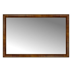 """Posters 2 Prints, LLC - 46"""" x 30"""" Belmont Light Brown Custom Framed Mirror - 46"""" x 30"""" Custom Framed Mirror made by Posters 2 Prints. Standard glass with unrivaled selection of crafted mirror frames.  Protected with category II safety backing to keep glass fragments together should the mirror be accidentally broken.  Safe arrival guaranteed.  Made in the United States of America"""
