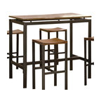 "Coaster - 5 Pc Counter Height Set (Birch Veneer/Black) By Coaster - You will receive a total of 1 bar table and 4 bar stools. Table: 24""W x 48""D x 41""H Stools: 14""W x 16""D x 29""H Finish: Matte Black, Light Oak Material: Metal, Birch Veneer 5pc Bar Table and Stools Set Veneer Top Matte Black Metal This set features a birch veneer table top in a light oak finish with matte finish black and gold metal frame. This collection marries utility and beauty in an eye-catching architectural design. This dining set is a great alternative to standard height dining. Assemble required."