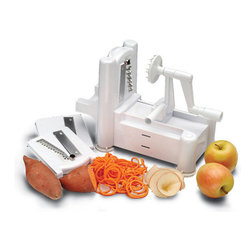 Paderno World Cuisine - Tri-Blade Plastic Spiral Vegetable Slicer - The spiral vegetable slicer cuts vegetables and fruits into curly, ribbon-like slices. By placing the vegetable or fruit on the prongs of the wheel and turning the wheel while pushing the base toward the vertical julienne blade, continuous spiral strands