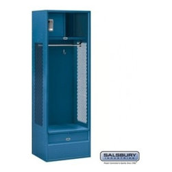 Salsbury Industries - Open Access Standard Metal Locker - 6 Feet High - 18 Inches Deep - Blue - Assemb - Open Access Standard Metal Locker - 6 Feet High - 18 Inches Deep - Blue - Assembled