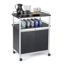"Safco - Mobile Beverage Cart in Black Finish - Complement your contemporary office with this sleek and stylish mobile beverage cart in classic black finish.  Gallery style top features smooth curved edges and it's easily portable with heavy-duty dual wheel locking casters.  Locking cabinet below is ideal for storage paper goods and supplies. Melamine top and doors. Three adjustable shelves. 3.5 in. dual wheel casters with two locking for easy mobility. Weight Capacity: 25 lbs. (Top Shelf), 50 lbs. (Shelf in Cabinet), 50 lbs. (Top of Cabinet). Made from steel. Melamine laminate finish. Assembly required. Inside: 29.75 in. W x 16.75 in. D x 20.5 in. H. Overall: 33.5 in. W x 21.75 in. D x 43 in. H (80 lbs.). Assembly InstructionMake every meeting a refreshing one. Pamper your guests with the Mobile Beverage Cart in your conference room, meeting area, training center, executive offices or treat your employees in the break room, lunch area or lounge areas. Now that's ""ahhhh"" inspired."
