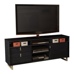 South Shore - South Shore Uber Cottage TV Stand in Black Oak - South Shore - TV Stands - 4347678 - The simple modern design of this Uber TV stand makes it the perfect add-on to your contemporary decor. Enhancing its splendid modern finish work are long metal legs at each end. This TV stand was designed as an elegant component that will fit right into your living room decor. And its warm Black Oak finish blends perfectly with a variety of colours into any ambiance.