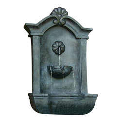 "Sunnydaze Decor - Marina Outdoor Wall Fountain Lead - Dimensions: 17""Wide x 10.5"" Deep x 29.5""High, 14 lbs"