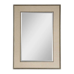 Uttermost - Marilla Beaded Silver Mirror - Frame's Inner And Outer Edges Feature A Delicate Beading Detail With A Heavily Burnished Finish And Antiqued Silver Highlights. A Taupe Linen Mat Creates The Frame's Center Panel. Mirror Has A Generous 1 1/4 in.  Bevel.