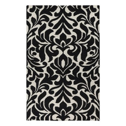 "Surya Rugs - Surya MKP-1007 Damask Area Rug, 3-Feet 6-Inch by 5-Feet 6-Inch, Black - 100% Wool. Style: Flat Weave | Transitional. Rugs Size: 3'6"" x 5'6"". Note: Image may vary from actual size mentioned."