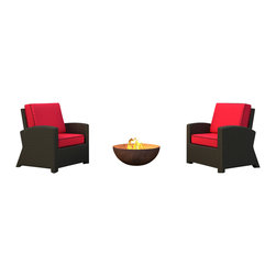 Forever Patio - Barbados 2 Piece Modern Outdoor Chat Set, Flagship Ruby Cushions - Want your outdoors to reflect your indoors? These beautiful wicker club chairs will continue your aesthetic to your patio or deck. So comfortable you'll be tempted to stay outside for hours. And go ahead! The sofa cushions are made of fade and mildew resistant fabric. Fire pit not included.