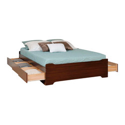 """Prepac Furniture - Prepac Espresso Coal Harbor Mate's Platform Storage Bed - Expand the storage potential of your bedroom with the Espresso Coal Harbor Mate's Platform Storage Bed with 6 Drawers by Prepac. Use the six 18"""" deep drawers (three on each side) included in this mate's bed to stow away blankets, linens and anything else that won't quite fit into your other bedroom furniture, and conserve floor space while you're at it. This price is for Full Platform Storage Bed. Available also Queen size Platform Storage Bed."""