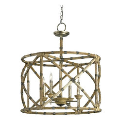 Currey and Company - Currey and Company 9694 Palm Beach Traditional Chandelier - Appealing in its simplicity and form, the Palm Beach lantern showcases a great combination of bamboo and wrought iron with its graceful curves and detailing. The hand finishing process used on this chandelier lends an air of depth and richness not achieved by less time-consuming methods.