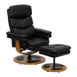 Flash Furniture - Contemporary Black Leather Recliner and Ottoman with Wood Base - Recline in your favorite position with this comfortable recliner and ottoman set. This set features soft pillowtop padding, thickly padded arms and wood bases with leather insets. This set is not only perfect in the home, but makes for a great addition in the office when you need to relax for a bit. The durable leather upholstery allows for easy cleaning and regular care.