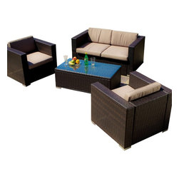Great Deal Furniture - Westlake Brown Wicker 4pc Outdoor Sofa Set - TABLE TOP GLASS IS NOT INCLUDED WITH THIS SET