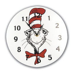 Trend Lab - Wall Clock - Dr. Seuss Cat In The Hat - Complement any room with this stylish Dr. Seuss Cat in the Hat Clock by Trend Lab. This circular clock features the classic book's Cat in the Hat character in the middle with black numbers. Mounting hardware is attached to the back for easy hanging. Runs on one AA battery (not included). Product sold under license from Dr. Seuss Enterprises, L.P.
