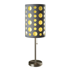 ORE International - 16 in. Plastic Table Lamp - Bulb not included. Requires one bulb. 100 watt A type bulb or 23 watt clf bulb of max 120v. Contemporary style. Fabric shade can be easily clean using damp cloth or duster. 10 in. Dia. outer shade in gray and 8 in. Dia. inner shade in yellow. Metal frame and base in chrome. Built with sturdy reinforcement in mind that can accentuate the lamp on any type of floor. Pulling chain for switching on and off. Warranty: 30 days. Assembly required. 16 in. Dia. x 33 in. H (7 lbs.)This stylish table lamp will brighten up your room while adding a touch of modern. One can easily detach the yellow colored inner layer shade to change the feel and the mood of the lamp and the room.
