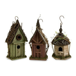 """IMAX - Carthage Birdhouses - Set of 3 - Set of three hanging weathered birdhouses in varying colors, shapes and sizes with thatched roofs, exclusive to IMAX. Item Dimensions: (15.5""""h x 4.75""""w x 6.75"""")"""