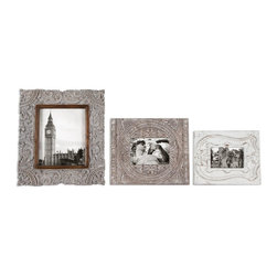 """Uttermost - Uttermost Askan Wood Photo Frames Set of 3 18556 - Carved mango wood with antique white glaze. Holds photos 4""""W x 6""""H, 5""""W x 7""""H, 8""""W x 10""""H. Frame sizes: Small size: 9""""W x 11""""H x 1""""D, Medium size: 11""""W x 13""""H x 1""""D, Large size: 14""""W x 16""""H x 1""""D."""