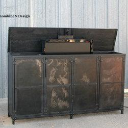 TV Lift Cabinet. Vintage Industrial. Modern/Urban. Motorized. Media Console