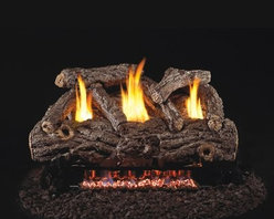 Real Fyre Golden Oak Vent Free Gas Log Set - A perfect Boy Scout fire you didn't have to build the Real Fyre Golden Oak Vent Free Gas Log Set makes life easy. This quality gas log set features organically perfect ceramic logs molded and painted to look like golden oak. This set is vent-free and uses either natural gas or propane to provide 36000 BTUs of warmth. It comes in your choice of size and is a breeze to ignite with the included remote control. No flint and steel required! Have a professional installer put in the exhaust system to ensure safety and makes things even easier. Note: Vent-free products are not approved for use in Canada and some states. Please check your local codes regarding vent-free products. A licensed contractor should be contacted for installation of all products involving gas lines. About Real FyreReal Fyre understands more about the amazing things that happen when flame and good food meet. For the last 70 years they've set out to create the singularly best way to cook food outdoors using the highest-quality materials innovative design and an absolutely relentless pursuit of perfection. With a complete line of luxury-grade grills burners accessories and built-in grill island components Real Fyre is ready to turn your home into the world's best outdoor kitchen.