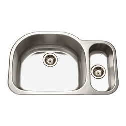 Houzer - Houzer MG-3209SR 80/20 Double Bowl undermount Sink with Strainer - Houzer stainless steel kitchen sink Undermount, 18 gauge Medallion Designer 80/20 Double Bowl Small Bowl Right