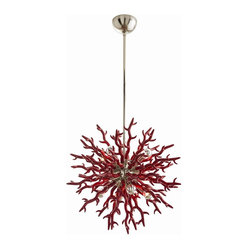 Arteriors - Diallo Small Chandelier, Red - The timeless beauty of coral inspired this lacquered resin chandelier. It's the perfect pop of personality for a modern home. Your room will be filled with glistening light from eight silver bowl globe bulbs nestled amongst coral reef fringe.