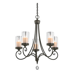 Kichler Lighting - Kichler Lighting Lara Traditional Chandelier X-ZWS16824 - This Kichler Lighting chandelier blends classic influencing with subtle modern details for a visually stunning look and feel. From the Lara Collection, it features five candelabra style lights housed in modern clear glass cylinders. A rich toned Shadow Bronze finish pulls the look together.