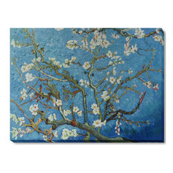 """overstockArt.com - Van Gogh - Branches of an Almond Tree in Blossom Oil Painting - 36"""" x 48"""" Oil Painting On Canvas Hand painted oil reproduction of a famous Van Gogh painting, Branches of an Almond Tree in Blossom. The original masterpiece was created in 1890. Today it has been carefully recreated detail by detail, color by color to near perfection. Van Gogh created this painting as a gift for his newborn nephew. The way he painted the brush strokes combined a sense of fragility and energy fitting for the young baby: A joyous and hopeful image for the child's future. Vincent Van Gogh's restless spirit and depressive mental state fired his artistic work with great joy and, sadly, equally great despair. Known as a prolific Post-Impressionist, he produced many paintings that were heavily biographical. This work of art has the same emotions and beauty as the original. Why not grace your home with this reproduced masterpiece? It is sure to bring many admirers!"""