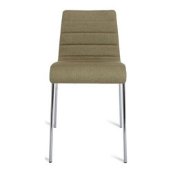 Blu Dot - Roy Chair by Blu Dot - Much like Roy Rogers' pal, Trigger, the Blu Dot Roy Chair is a real workhorse. With a comfy padded and upholstered seat and slender, sturdy steel legs, this chair is ideal for office, home or contract applications. All available fabric color options are complemented by the legs' Chrome-plated finish. In 1997, Blu Dot was established in Minneapolis by three college friends with a shared passion for art, architecture and design. Then and today, their goal is to bring good design to as many people as possible, collaborating to create modern home furnishings and accessories that are useful, affordable and exceedingly desirable.