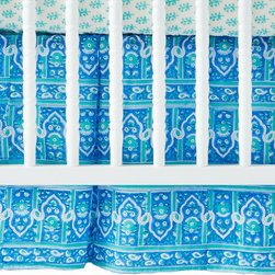 Palace Turquoise Crib Skirt - Add a splash of color to the bottom of the crib with this vibrant Palace Turquoise crib skirt.