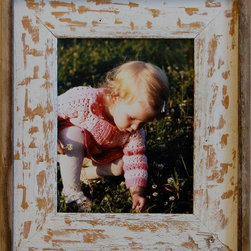 MyBarnwoodFrames - 5x7 Barnwood Picture Frame Shabby Chic Distressed Wood - This  unique  barnwood  picture  frame  features  a  custom  paint  job  perfect  for  the  customer  who  wants  an  antique  look  without  antique  pricing.  Our  Shabby  Chic  distressed  wood  photo  frame  pairs  reclaimed  barnwood  with  distressed  wood  with  splashes  of  white  paint.  This  handmade  wooden  frame  features  reclaimed  barn  wood,  distressed  cedar  wood,  and  is  painted  by  hand.  Barnwood  has  unique  color  and  texture  characteristics  that  make  every  frame  different.  This  image  is  a  representation  of  the  style  of  frame  available.  Yours  may  vary  slightly.          Product  Details                  Picture  opening  5x7,  finished  product  is  approximately  11x13              Rustic  wood  and  reclaimed  barnwood  picture  frame              Sawtooth  hanging  hardware  included              Glass  and  cardboard  backing  included              Handcrafted  in  USA;  Hangs  horizontally  or  vertically