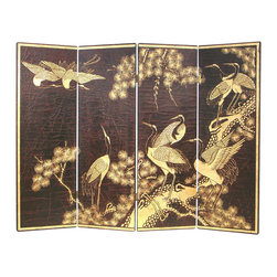 Wayborn - Wayborn Hand Painted Cranes Wall Room Divider in Black/Gold - Wayborn - Room Dividers - 4769 - Wayborn hand painted screens start with a cedar plywood frame covered in a cheesecloth material. Then layer after layer of plaster is applied; each layer must dry before another layer can be applied. After all the plaster has been applied several coats of lacquer is put over the entire surface. At that time the artist begins to sketch out the painting directly on the panels of the screen and begins painting the design with water based paint.  Each one of these screens has its own characteristics and is truly a work of art.