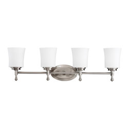 Kichler 4-Light Wall Mounted Bath Light - Brushed Nickel - Four Light Wall Mounted Bath Light Not quite contemporary, not fully traditional - this four light bath fixture envelops Edith Wharton's principles of design. Intriguing concepts of basic shapes complement a brushed nickel finish and satin-etched cased opal glass. 100-w. Max. Width 30.25, height 8.88, extension 6. Fixture may be installed with glass up or down. Height from center of wall opening with glass up is 7-1/4. Backplate size: 7-1/2 x 4-1/2. U. L. Listed for damp location.