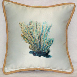 Aqua Blue Coral Throw Pillow - I love the colors in this pillow. The pop of summery blue is perfect.