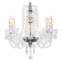 The Gallery - Authentic All Crystal Chandelier - Want all the charm and grandeur of an antique but not the price? This chandelier has all the sparkle and elegance you need. The beaded crystals drape down gracefully as the candle bulbs bounce light off of them.