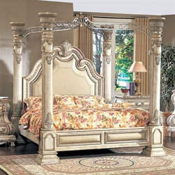 Calidonian - An ornate metal canopy is really the only way to top this leather-upholstered four-poster dream bed.