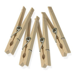 Wood Clothespins With Spring - 200-Pack - Honey-Can-Do DRYZ01376 200pk Classic Wooden Clothespins, Natural. Love drying your clothes naturally but can't stand finding heavy towels on the ground? Search no more. A classic, spring-style clothespin with updated engineering, this clothespin will hold up to 10lbs. per clip. Rust and moisture resistant, the birch hardwood construction and heavy-duty spring will last through your most challenging laundry days. Also available in packs of 24, 50, and 100.