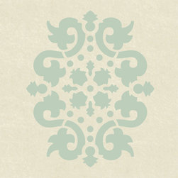 Stencil Ease - Jaipur Accent Stencil - Jaipur Accent Home Decor Stencil Contains: 1 - 5 x 7 Stencil Sheet Actual Size: 4.5 wide x 5.5 high These detailed laser-cut Accent Stencils can be used to embellish walls in bathrooms hallways bedrooms living rooms and more. Because of their smaller size they can also be used on tiles furniture lampshades and fabric. Any paint can be used with these mylar stencils. This design was painted using the following Spill Proof Color: MSP01007 Revere BlueComplete kit comes with stencil paints and 1 THW0006 stencil brush