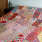 Pink/Multi Kantha Quilt - This stunning Kantha stitch bedspread/throw is lined with a plain coordinating fabric. Each one of these bedcovers is lovingly handcrafted by artisans and items of this quality are not easily available.