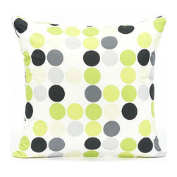 "Blooming Home Decor - Lime Green & Gray Polka Dot Throw Pillow Cover - - 20"" square"