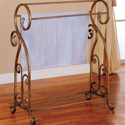 "Coaster - 900079 Towel Rack - Antique gold finish metal towel/quilt rack.; Dimensions: 14.75""L x 31.00""W x 36.00""H"