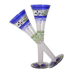 Blue Floral Hollow Flute Glasses  Set of 2 - This lovely hand painted toasting flute is a blue floral design which works beautifully with Polish Pottery.  Something to be handed down from generation to generation.  Proudly hand painted in the USA.