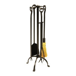 Achla - Rustic Wrought Iron Toolset - Graphite Finish - Rugged but certainly not coarse, this graphite finished fireplace tool set just aims to serve you.  Constructed to have a robust constitution, the wrought iron tools have unadorned loops at their ends enabling them to hang off the four-legged stand. * Wrought iron construction. Graphite powdercoat finish