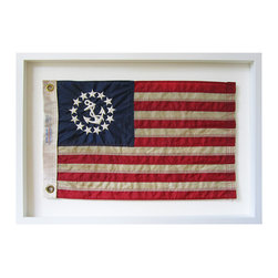 Kathy Kuo Home - United States Yacht Ensign Aged Flag Wall Decor - by Karen Robertson - The United States Yacht Ensign Flag design highly resembles the national flag but contains an anchor in a circle of stars in place of the 50 stars. The Act of Congress created the flag in 1848 for use by licensed U.S. yachts.  Hung alone or in a grouping, the aged effect delivers instant character and charm. This item is made to order, please allow up to 3 weeks for production.